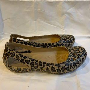 Crocs Leopard Print Flats Size 8